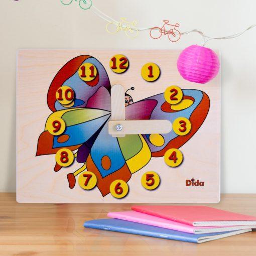 Orologio didattico farfalla - orologio di apprendimento con lancette - Dida