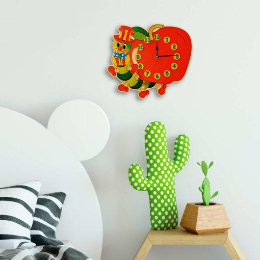 Orologio parete bambini-Bruco mela-orologio da parete per cameretta-Dida