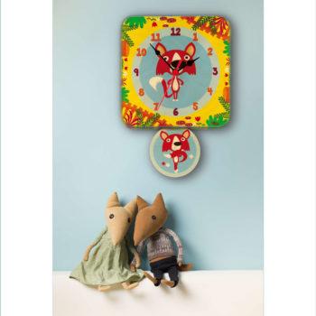Orologio pendolo Volpi per la cameretta dei bambini-Dida