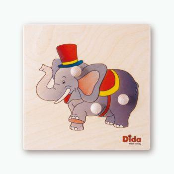 Puzzle Elefante - puzzle con 3 tessere con pomello - motricità fine - Dida