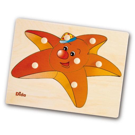 Puzzle in legno Stella Marina, 7 tessere con pomelli - Dida