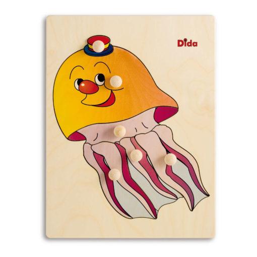Puzzle in legno Medusa, 6 tessere con pomelli - Dida
