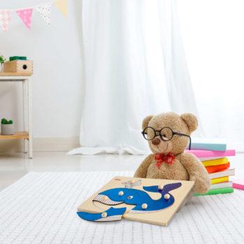 Puzzle in legno Balena, 7 tessere con pomelli - Dida