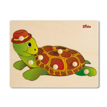 Puzzle in legno tartaruga, 7 tessere con pomelli - Gioco di pazienza, concentrazione, e osservazione - Dida