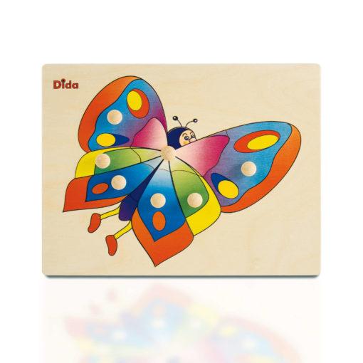 Puzzle in legno Farfalla, 7 tessere con pomelli - Dida