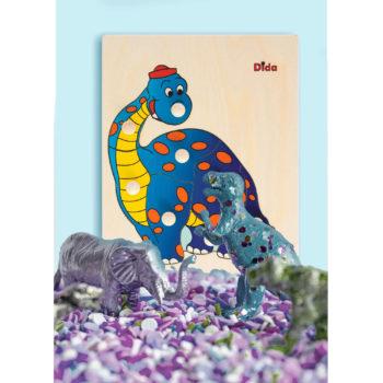 Puzzle in legno Dinosauro, 8 tessere con pomelli - Dida