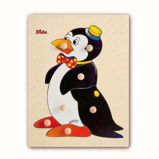 Puzzle in legno Pinguino, 7 tessere con pomelli - Gioco di pazienza, concentrazione, e osservazione - Dida