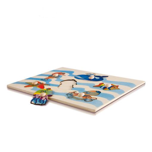 Puzzle incastri animali marini, figure intere in postazioni singole - Dida