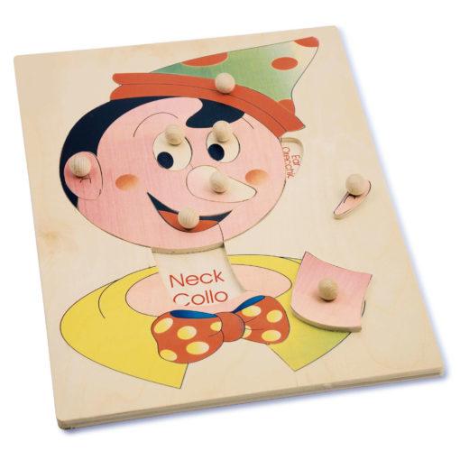 Puzzle schema corporeo viso pinocchio il gioco didattico esplorando il corpo umano - Dida