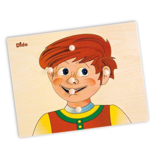 Schema corporeo viso bimbo - puzzle di legno sul corpo umano - Dida