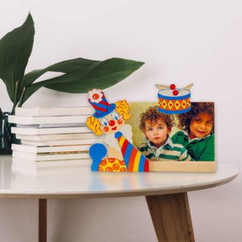 Portafoto in legno Clown con tambura - Dida