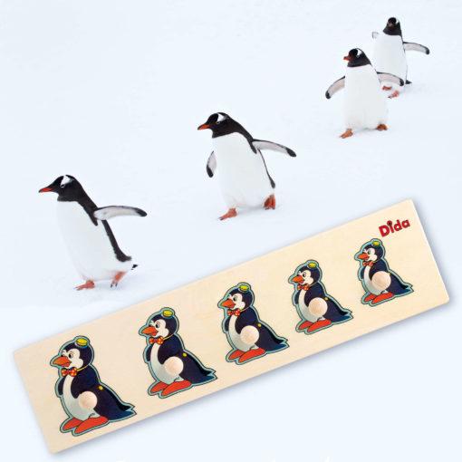 Seriazione Pinguino puzzle e incastri esercizi e attività montessoriana-Dida