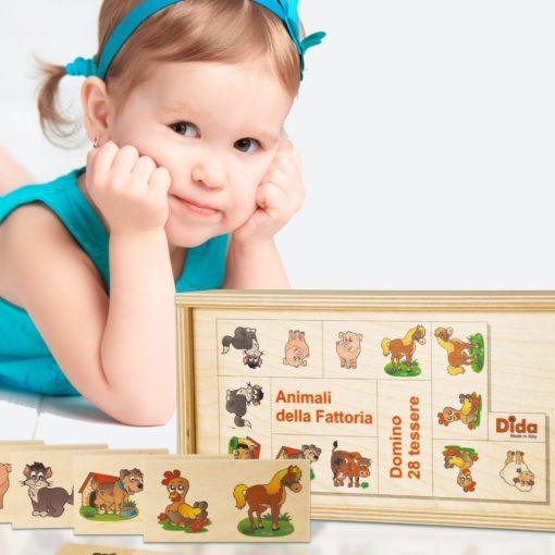 Domino Fattoria -gioco da tavolo con gli animali più amati dai bambini-Dida