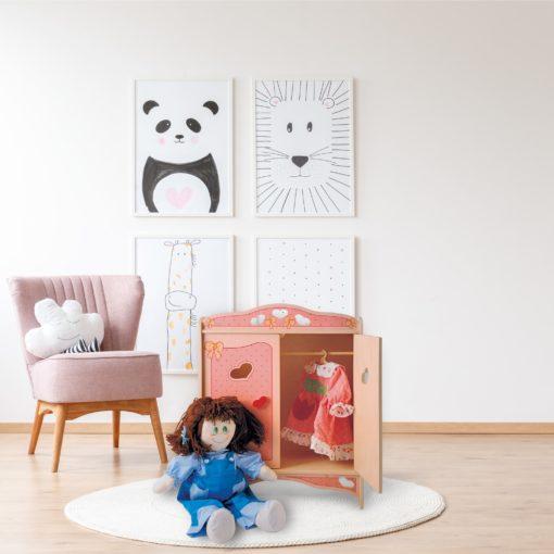 Armadio per bambole Rosa - Giochi creativi e simbolici in legno - Dida