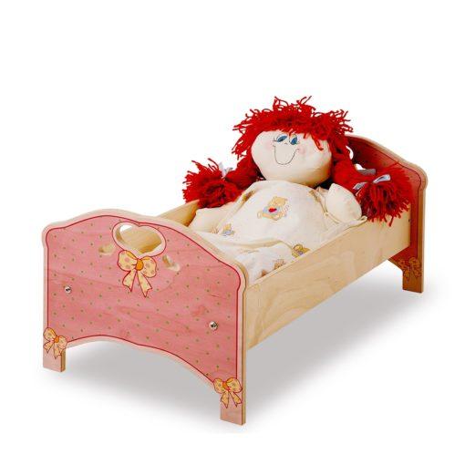 Lettino in legno per bambole Rosa - accessori per giochi simbolici - Dida